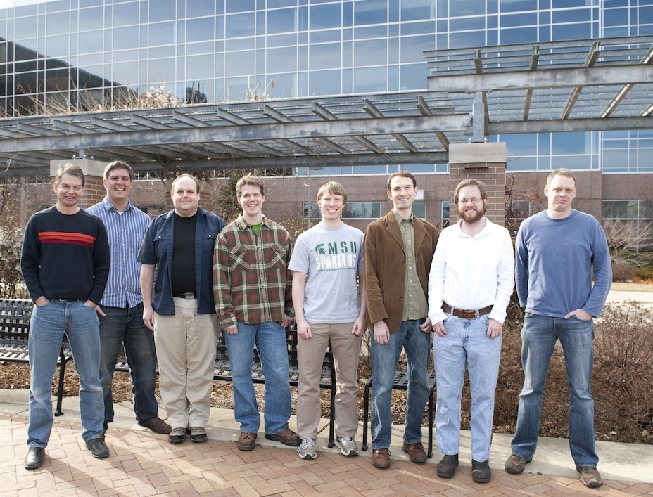 pictured, left to right: Dr. Chris Adami, Randy Olson, Dr. Arend Hintze, Dr. David Knoester, David Phillips, Jory Schossau, Sam Chapman, Bjørn Østman